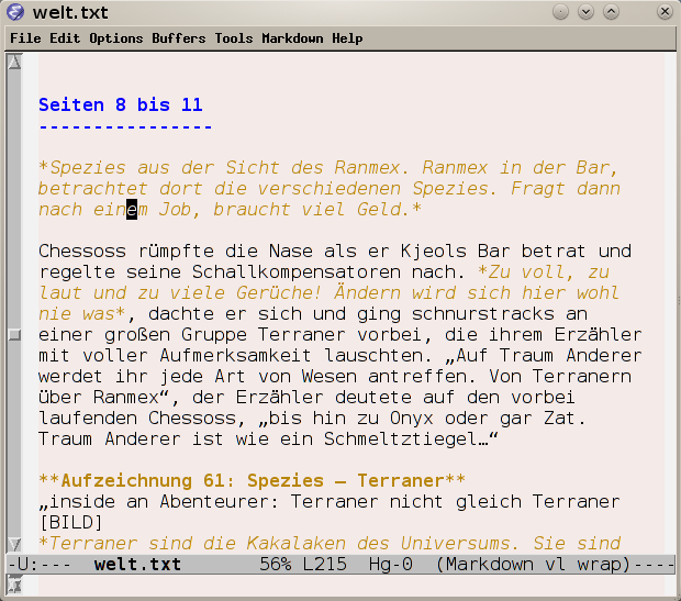 Emacs mit Markdown mode