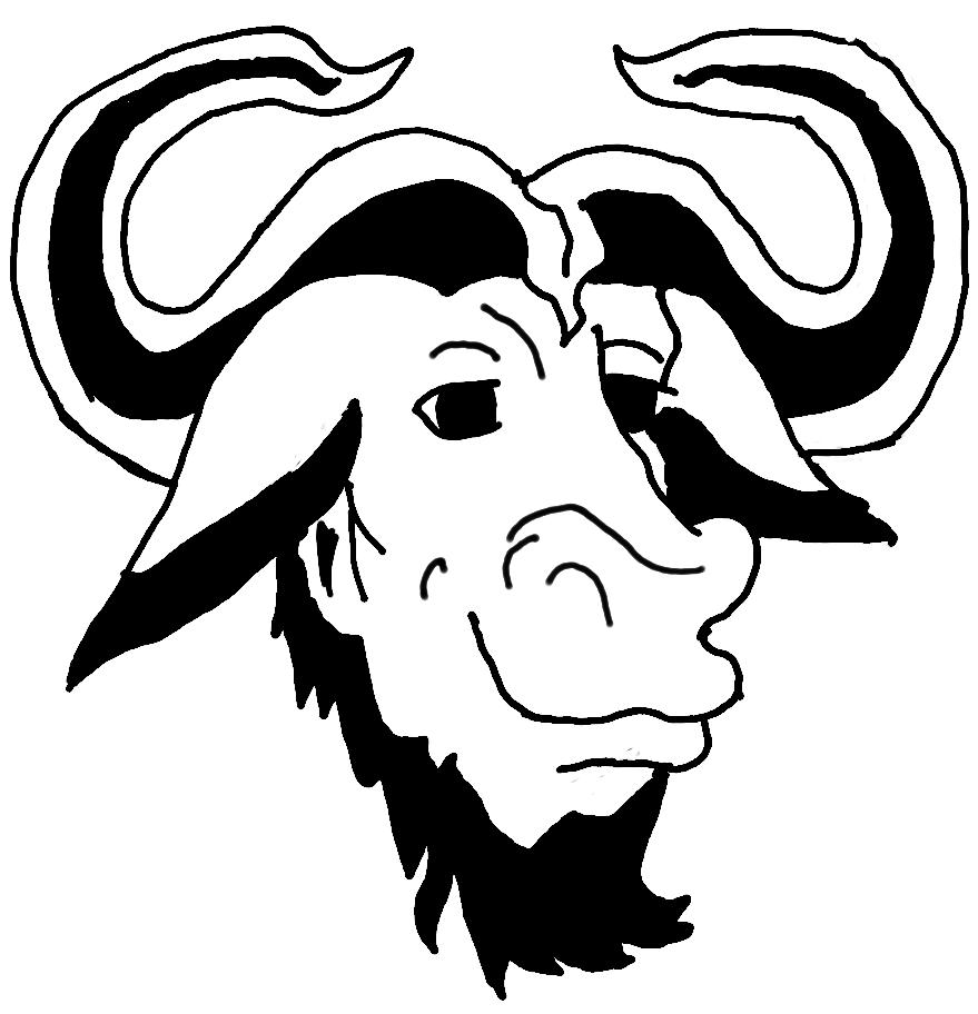 A GNU head  redrawn  Gnu