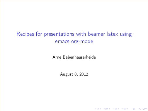 Recipes for presentations with beamer latex using emacs org-mode